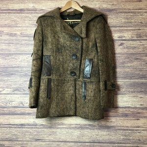 Vtg Mackage Snow Winter Leather Wool Topcoat Coat